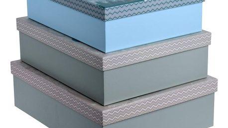 Home Styling Collection Vánoční krabice 3, sněhulák motiv, modrá