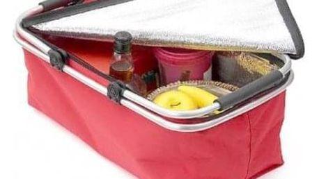 Termo skládací nákupní košík s víkem červený