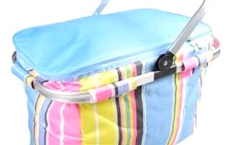 Termo skládací nákupní košík s víkem modrý pruhovaný