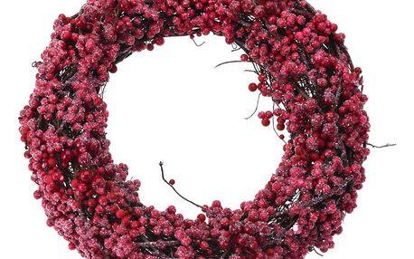 Home Styling Collection Červená vánoční čelenka s jeřáb, Ø 33 cm