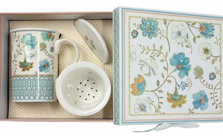 Porcelánový hrnek se sítkem a víčkem Modré květiny 330 ml