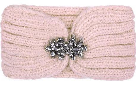 Růžová pletená čelenka Luca 603390