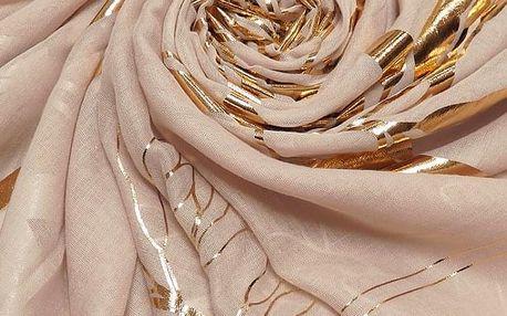 Dámský pudrově růžový šátek Iris