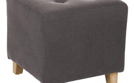 Emako Šedý pouf, elegantně pokrytá stolička, která je praktickou a originální výzdobou bytu