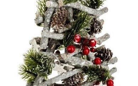 Fééric Lights and Christmas Umělý vánoční stromek oblečený, červený a stříbrný, 57 cm