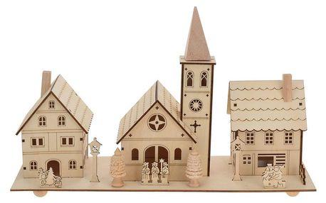 Home Styling Collection LED vánoční scéna: Kostel + vily, dřevěná dekorace s podsvícením