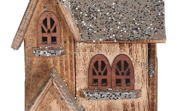 Home Styling Collection Dřevěný dům LED vánoční dekorace, 30 cm