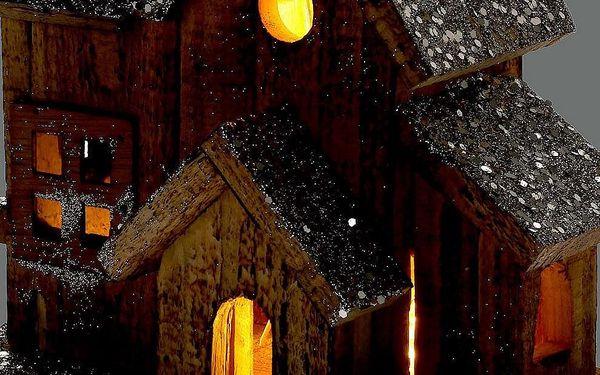 Home Styling Collection Dřevěný dům LED vánoční dekorace, 20 cm2