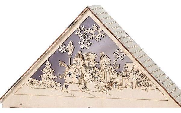Home Styling Collection LED adventní kalendář se sněhuláky, podsvícená dřevěná chata, 43 x 38 cm2