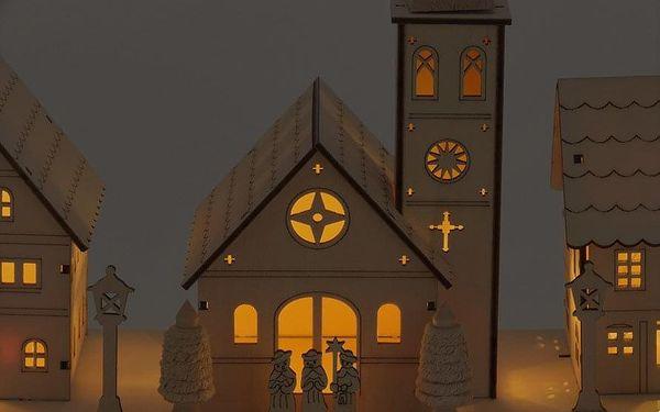 Home Styling Collection LED vánoční scéna: Kostel + vily, dřevěná dekorace s podsvícením2