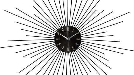 Emako Kulaté nástěnné stříbrné hodiny v černé barvě SUN, 50 cm
