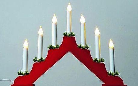 Adventní svícen s taženou žárovkou LED Filament, červená