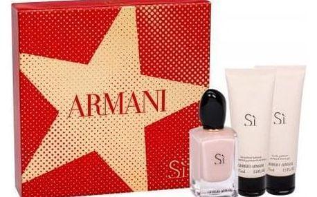 Giorgio Armani Sì Fiori dárková kazeta pro ženy parfémovaná voda 50 ml + tělové mléko 75 ml + sprchový gel 75 ml