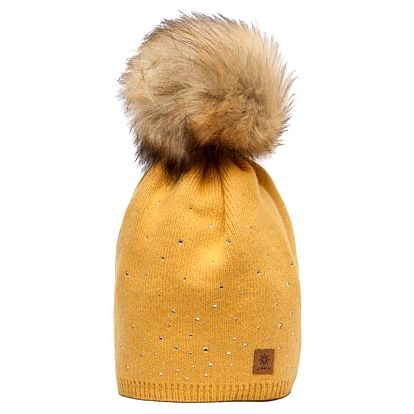 Hořčicově žlutá čepice Woolk s hnědou bambulí a kamínky