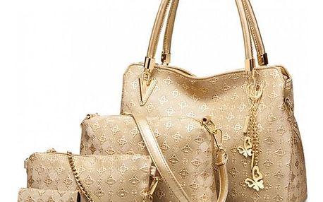 SET: Dámská zlatá kabelka Claire 6714