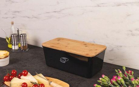 Kesper Chlebník s víkem, kontejner na chléb s prkénkem na krájení 2v1