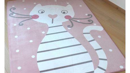 Vopi Dětský koberec Ultra Soft Kočička, 90 x 130 cm