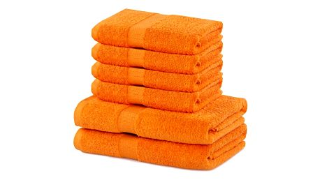 DecoKing Sada ručníků a osušek Marina oranžová, 4 ks 50 x 100 cm, 2 ks 70 x 140 cm