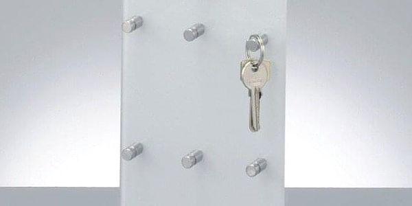 Skleněná tabule na klíče, 9 háčků + police, ZELLER2