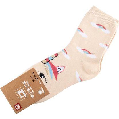 Aura.Via Veselé dámské ponožky barevné Unicorn - jednorožec