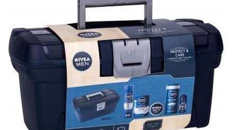 Nivea Men Protect & Care dárková kazeta pro muže sprchový gel 250 ml + voda po holení 100 ml + antiperspirant roll-on 50 ml + univerzální krém Men Creme 150 ml + gel na holení 200 ml + box na nářadí