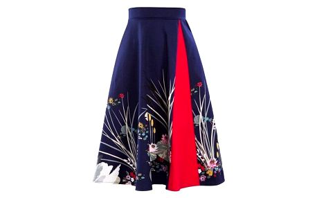 Dvoubarevná áčková sukně - Červená_velikost č. 6 - dodání do 2 dnů