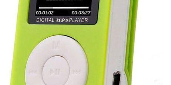 MP3 přehrávač s klipem - Zelená - dodání do 2 dnů