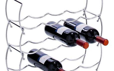 ZELLER Kovový stojan na víno - 3 kusy v sadě, chrom 42x14x14