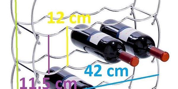 ZELLER Kovový stojan na víno - 3 kusy v sadě, chrom 42x14x142