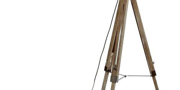 Atmosphera Podlahová lampa trojnožka hnědá, industriální, ve tvaru reflektoru.
