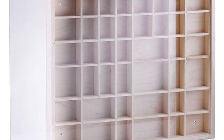 Dřevěná vitrínka pro sběratele,42 přihrádek v různých velikostech, ZELLER