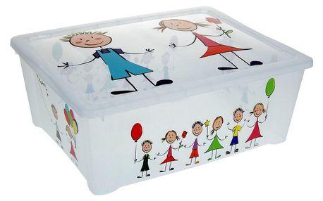 Emako Průhledný plastický box na hračky s víkem KIDS, 42x33x16 cm, 25 l