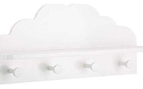 Emako Police, dětské police, bílé police, věšák, 4 háčky CLOUD, barva bílá, 48 x 22 x 12 cm