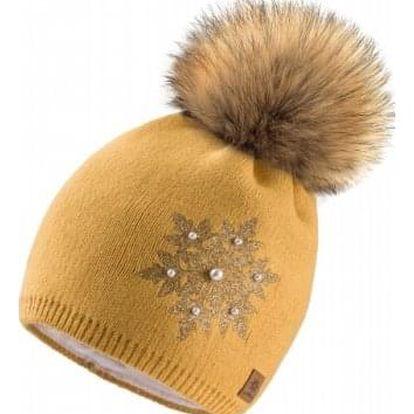 Hořčicově žlutá čepice Woolk s vločkou a hnědou bambulí