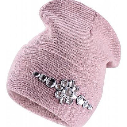 Starorůžová čepice Woolk s kamínky