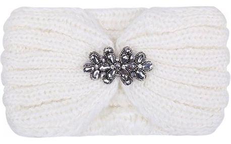 Bílá pletená čelenka Luca 603390