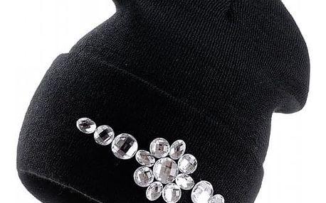 Černá čepice Woolk s kamínky