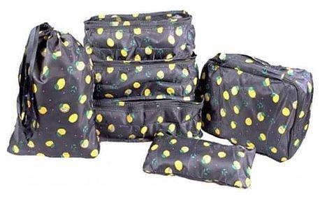 Cestovní organizér do kufru 6ks černý s citróny