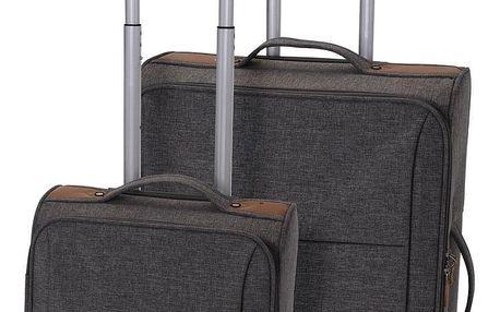 Koopman Sada textilních kufrů na kolečkách 2 ks, světle šedá