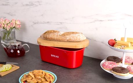 Kovový kontejner na chleba BREAD, 2v1 bambusové prkénko - červená barva, ZELLER