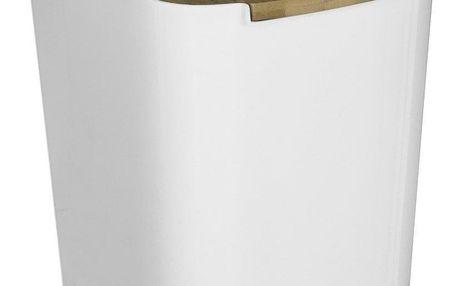 Secret de Gourmet Bílý kbelík naodpadky zbambusu, malý koš na smetí, koš nasmetí dokoupelny, koš na kuchyňské odpadky, 5l koš naodpadky
