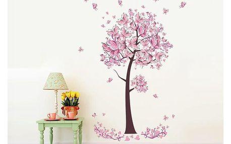 Strom s růžovými motýly 70 x 100 cm