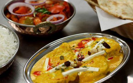 Indické menu podle výběru a lassi nebo víno pro dva