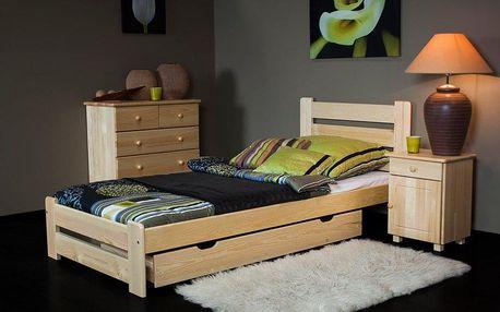 Dřevěná postel Kati 90x200 + rošt ZDARMA borovice