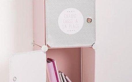 Emako Skříň se zásuvkami, regál, knihovna, police na drobnosti, 4 přihrádky, 34 x 140 x 32 cm, růžová barva