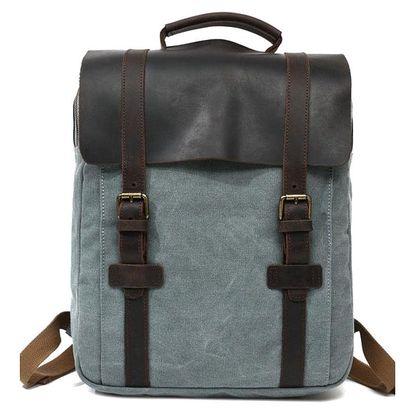 Retro batoh s koženou klopou zelenomodrá