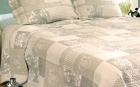 Přehoz na postel Patchwork, 230 x 250 cm, 2x 50 x 70 cm