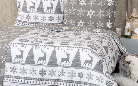 4Home Flanelové povlečení Christmas Time šedá, 140 x 200 cm, 70 x 90 cm