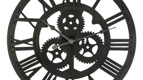 Emako Dřevěné hodiny na stěnu, kulaté hodiny, hodiny do obývacího pokoje, dekorativní hodiny, retro nástěnné hodiny, černé nástěnné hodiny