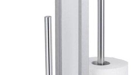 Držák toaletního papíru s nádobou a toaletním kartáčem z nerezové oceli, 21x18x70,5 cm, WENKO